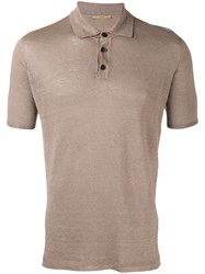 Roberto Collina Knit Polo Shirt Brown