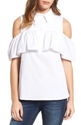 Pleione Women's Ruffled Cold Shoulder Top White