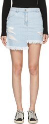 Versus Blue Denim Asymmetric Miniskirt