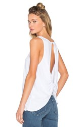 Bobi Light Weight Jersey Open Back Scoop Neck Tank White