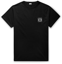 Loewe Logo Embroidered Cotton Jersey T Shirt Black