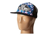 Vans Beach Girl Trucker Hat Blurred Floral Poseidon True White Caps Blue