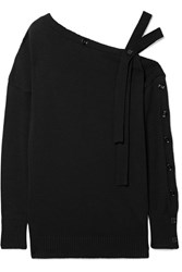 Tomas Maier One Shoulder Cotton And Cashmere Blend Sweater Black Gbp