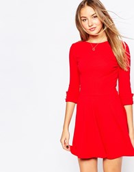Club L Skater Dress With Button Sleeve Detail Red