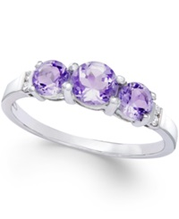Macy's Amethyst Three Stone 1 Ct. T.W. And Diamond Accent Ring In Sterling Silver