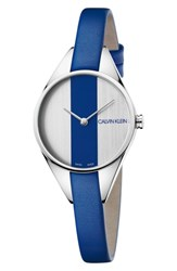 Calvin Klein Rebel Leather Band Watch 29Mm Blue Silver