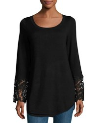 Neiman Marcus Lace Bell Sleeve Sweater Top Black