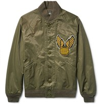 Rrl Lewis Appliqued Cotton Blend Twill Bomber Jacket Green