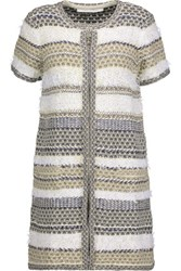 Diane Von Furstenberg Arryn Metallic Textured Cotton Blend Cardigan Multi