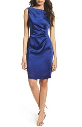 Tahari Petite Women's Stretch Satin Sheath Dress Majestic Blue
