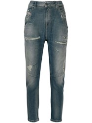 Diesel Distressed Tapered Jeans Blue