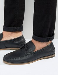 Asos Tassel Loafers In Black Leather With Fringe Black