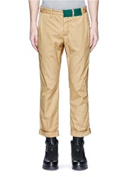 Sacai Roll Cuff Overydye Cotton Chinos Brown
