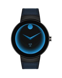 Movado Connect Leather Inset Smartwatch Blue