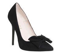 Office Hey Girl Bow Point Courts Black Suede