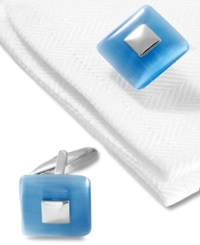 Kenneth Cole Reaction Cufflinks Quantum Light Blue Optic Stone Boxed Set