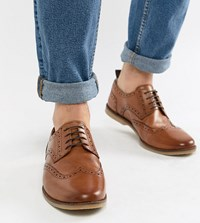 Asos Design Wide Fit Causal Brogue Shoes In Tan Leather With Gum Sole