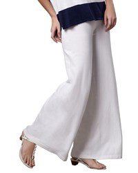 Minnie Rose Wide Leg Palazzo Knit Pants White