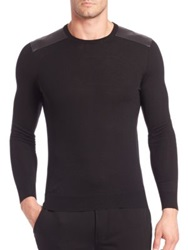 Ralph Lauren Black Label Merino Wool And Leather Crewneck Sweater Black