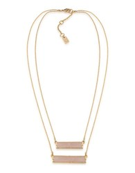 Lauren Ralph Lauren Match Point 12K Gold Plated Pink Two Row Rectangle Pendant Necklace