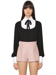 Valentino Georgette Lace And Cotton Pique Shirt