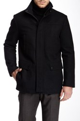 Kenneth Cole Funnel Neck Car Coat Black