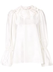 Tory Burch Stripe Ruffle Blouse White