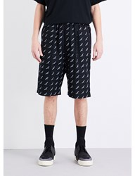 Balenciaga Brand Print Regular Fit Cotton Shorts Black