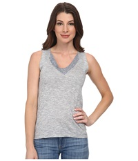 Lacoste Sleeveless Color Block Slubbed Jersey V Neck Tank Top Philippines Blue Flour Women's Sleeveless Gray