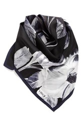Vince Camuto Women's Floating Florals Silk Square Scarf Black Grey