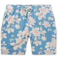 e19c64d51221c Faherty Beacon Wide Leg Long Length Floral Print Swim Shorts Blue