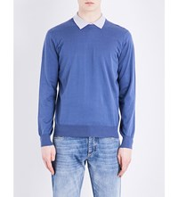 Brunello Cucinelli Crewneck Wool And Cashmere Blend Jumper Mid Blue