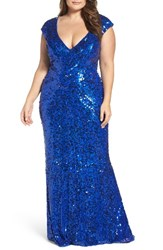 Mac Duggal Plus Size Women's Sequin Plunging V Neck Gown Royal