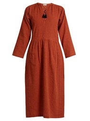 Masscob Lace Up Wool And Linen Blend Dress Dark Orange