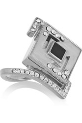 Kilian Lights And Reflections Rhodium Plated Swarovski Crystal And Onyx Ring