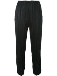 Issey Miyake Pleats Please By Cropped Pleated Trousers Women Polyester 5 Black