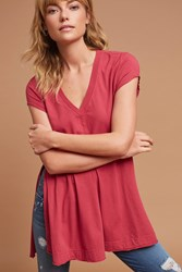 Anthropologie Jersey V Neck Tunic Raspberry