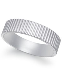 Macy's Vertical Ridge Wedding Band In 18K White Gold