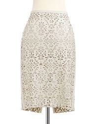 424 Fifth Plus Laser Cut Faux Leather Pencil Skirt Gardenia
