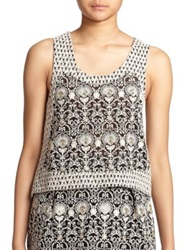 The Kooples Embroidered Tank Black White