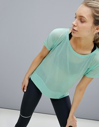 Asics Running Crop Front Tee In Mint Green