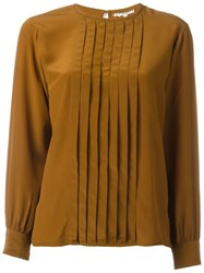 Yves Saint Laurent Vintage Pleated Front Blouse Brown