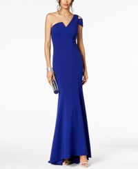 Betsy And Adam One Shoulder A Line Gown Royal