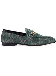 Gucci Jordaan Gg Velvet Loafers Velvet Leather Metal Blue