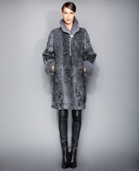 The Fur Vault Mink Fur Trimmed Persian Lamb Coat Anthracite