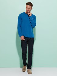 Shanghai Tang Cashmere Silk Sweater With Contrast Shou Embroidery Blue