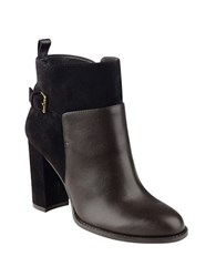 Nine West Quinah Leather And Suede Booties Dark Grey