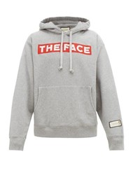 Gucci The Face Print Cotton Hooded Sweatshirt Grey