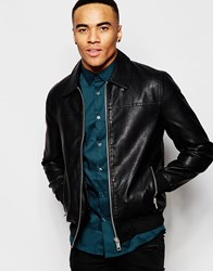 New Look Harrington Jacket In Faux Leather Black
