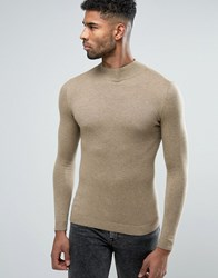 Asos Turtle Neck Jumper In Muscle Fit Faded Taupe Brown
